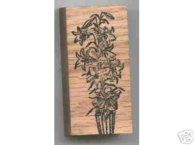 LILY flower in Pot rubber stamp Easter