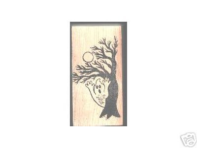Ghost Tree Halloween rubber stamp