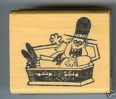 Vampire in Coffin Halloween rubber stamp