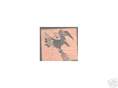Witch Flying on Broom Halloween rubber stamp lg
