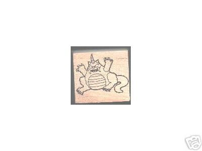Monster with horn Halloween rubber stamp