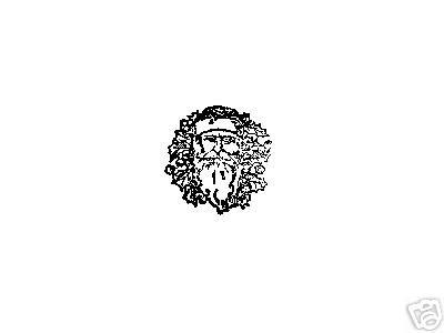Santa Head in Wreath rubber stamp