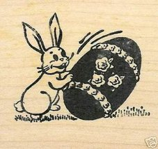 Easter Bunny Rolling Egg rubber stamp - $8.00