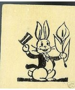 Easter Bunny Holding Lily Flower rubber stamp - $6.00