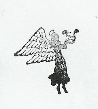 Angel side view with harp silouette Rubber Stamp