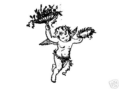 Cupid with Wreath and Bouquet rubber stamp