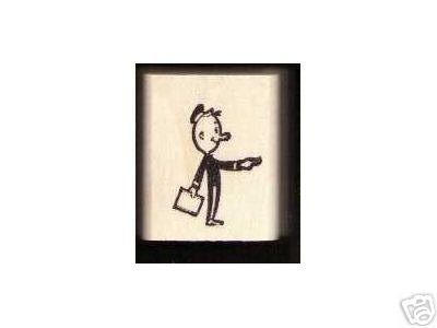 Mailman Mail Man rubber stamp w/letter pushing doorbell