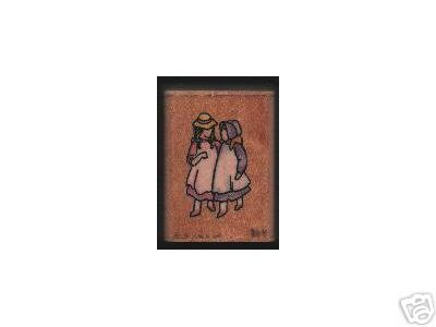 2 Girls chatting rubber stamp Stampendous 1995