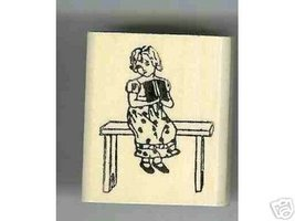 Kate Greenway rubber stamp Girl on bench with book - $6.00
