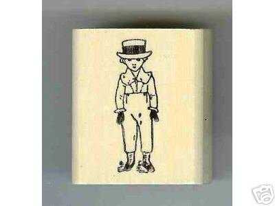 Kate Greenway rubber stamp Boy Dressed Up in Hat
