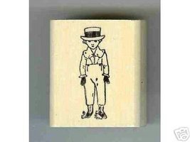 Kate Greenway rubber stamp Boy Dressed Up in Hat - $6.00