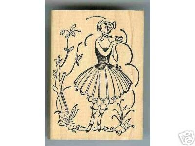 Old Fashioned Lady IN Garden rubber stamp storybook
