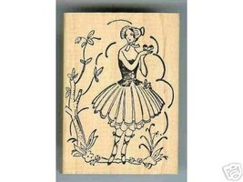 Old Fashioned Lady IN Garden rubber stamp storybook - $9.00