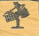 Vintage Lady Silouette shopping bags rubber stamp mini