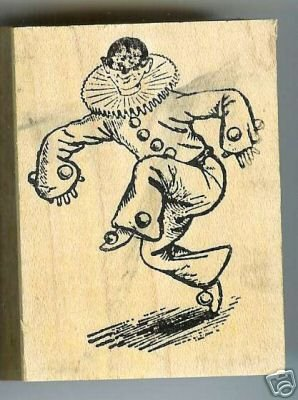 Clown dancing wearing a mask rubber stamp