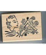 Lady Holding Bouquet of Flowers rubber stamp - $14.80