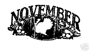 November Month Rubber Stamp fall Turkey thanksgiving