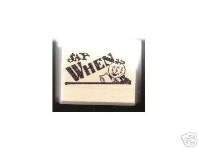Round Headed Cartoon Man rubber stamp SAY WHEN !
