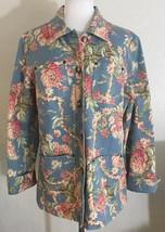 Evan Picone Casual Size Medium Blue Pink Floral Cotton Corduroy Pockets ... - $15.83