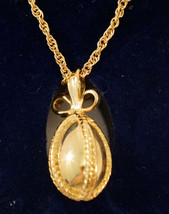 Joan Rivers Classics Egg Pendant Necklace Gold with 4 Bands of Gold tone  - $29.99