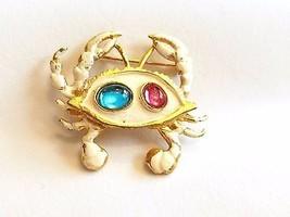 White Enamel Figural Crab Pin Zodiac Cancer Sign Vintage - $15.89