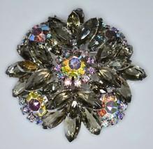 VTG JULIANA D&E Silver Tone Gray Graphite AB Rhinestone 3D Flower Pin Br... - $123.75
