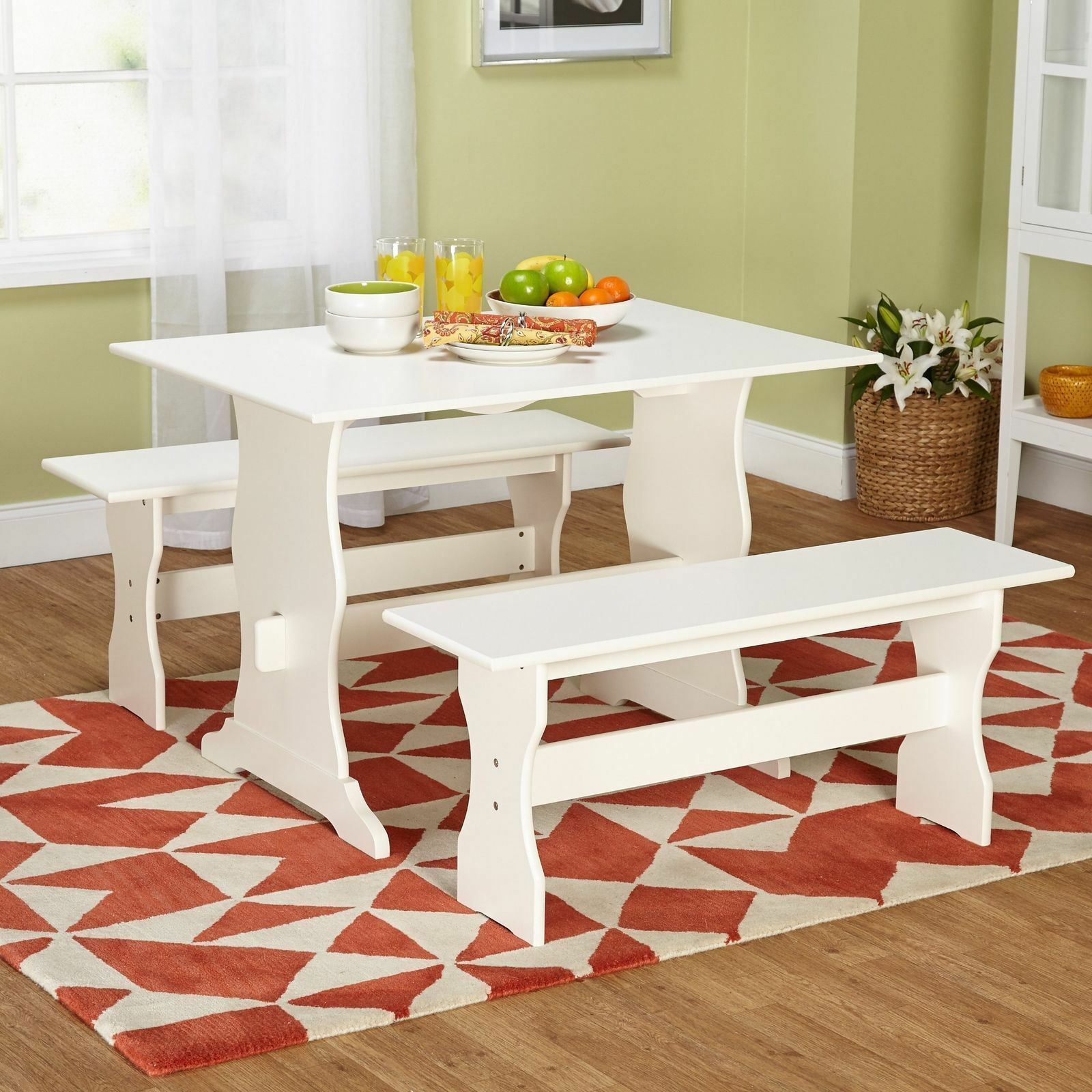 White 3 Pc Dining Set Wooden Kitchen Nook Breakfast Table