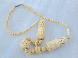 Vintage Hand Carved Camel Bone Necklace Jordanian - $35.64
