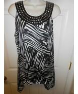 Cute Apt. 9 size Large black & white w/ silver Studs Top Blouse A - $14.84