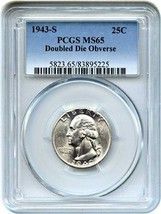 1943-S 25c PCGS MS65 (Doubled Die) Rare Variety - Washington Quarter - $1,697.50