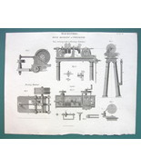 SHIP BUILDING Turning Lathe & Riveting Hammer - 1820 ABRAHAM REES Print - $9.57