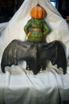 Bethany Lowe Pumpkin Head on Bat Wall Hanging image 4