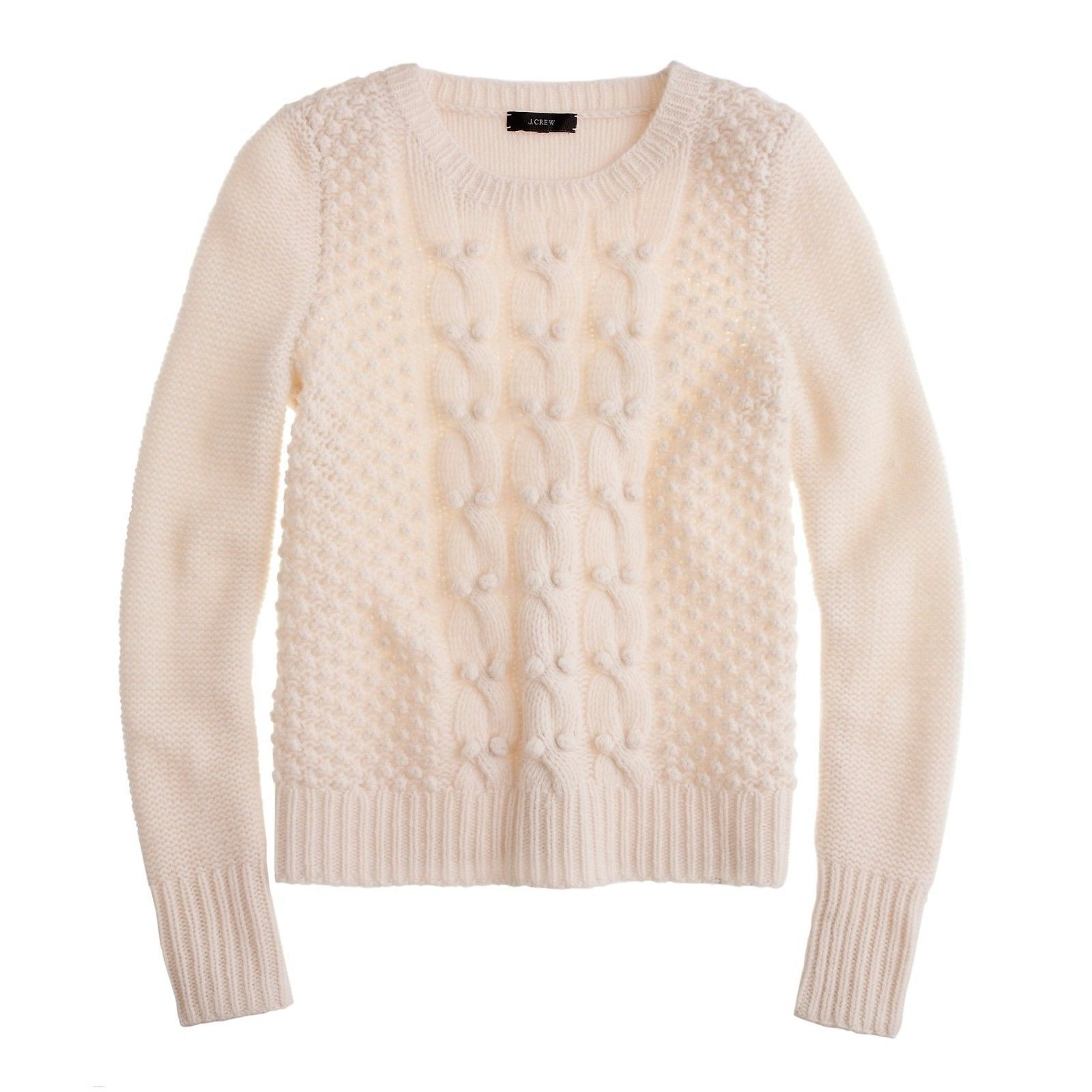 Primary image for J Crew Ivory 100% Lambs Wool Handknit Cable Knit Popcorn Sweater M