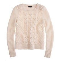 J Crew Ivory 100% Lambs Wool Handknit Cable Knit Popcorn Sweater M - $47.49
