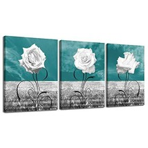 LKY ART Canvas Print Wall Art White Rose Picture Oil Painting,Modern Nature Artw
