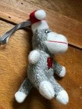 Small University of Wisconsin Gray & White Stuffed Sock Monkey w Santa Hat Chris image 7
