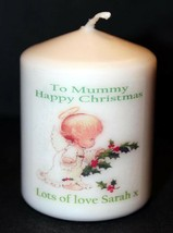 "Mummy Christmas candle personalised gift  3"" inch 