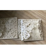 Cream Laser Cut Wedding Invitation,50pieces Lace 4folded Invitation Cards - $71.80