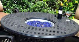 Nassau patio furniture set outdoor fire pit propane table 5 piece dining Bronze image 4