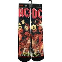 Odd Sox Negro/Rojo AC/Dc Highway To Hell Sublimado Tripulante Calcetines, 6-13