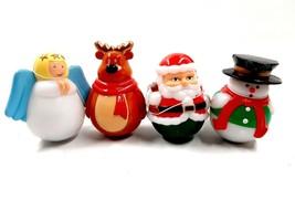 4 Wobble Light and Sound Christmas Figures Angel, Santa, Reindeer, Snowm... - $19.99