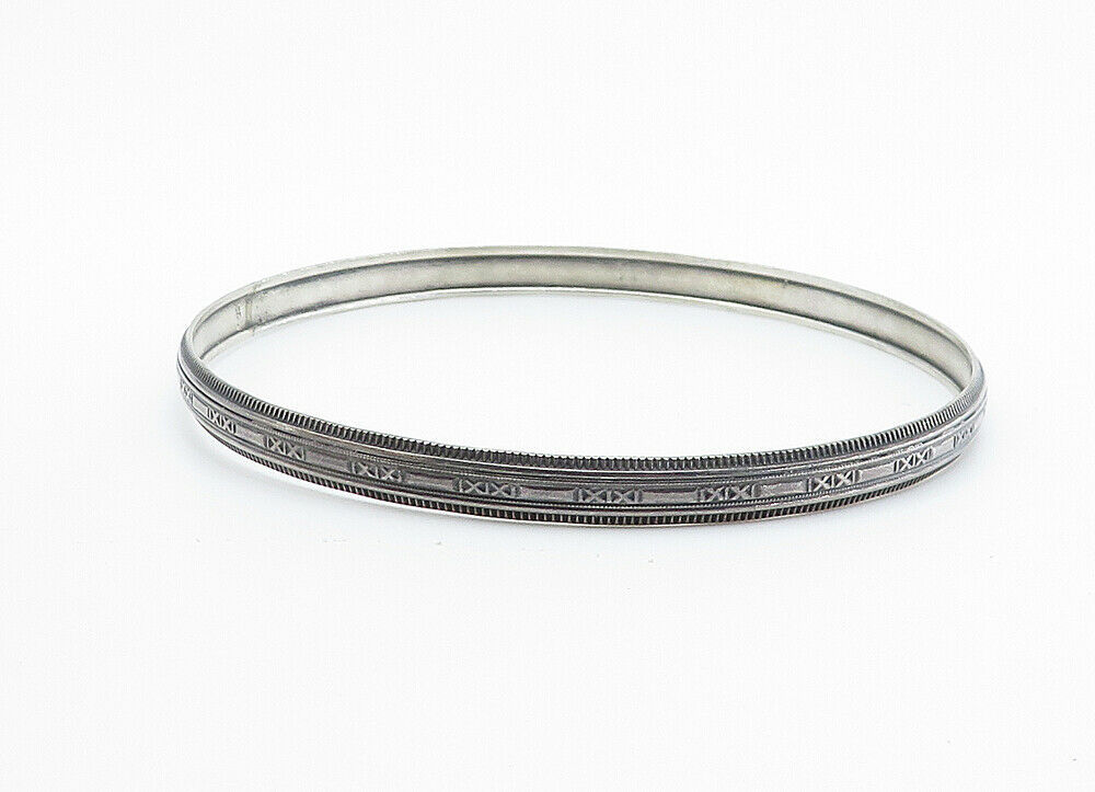 925 Sterling Silver - Vintage Dark Tone X Patterned Bangle Bracelet - B6048