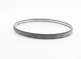 925 Sterling Silver - Vintage Dark Tone X Patterned Bangle Bracelet - B6048 image 2