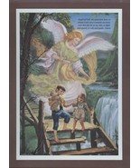 Guardian Angel With Children Wood Plaque Picture New - $5.00