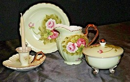 Delicate Pitcher, Plate, bowl with lid and Candle Holder (5 pieces) Lefton AA20- - $125.95