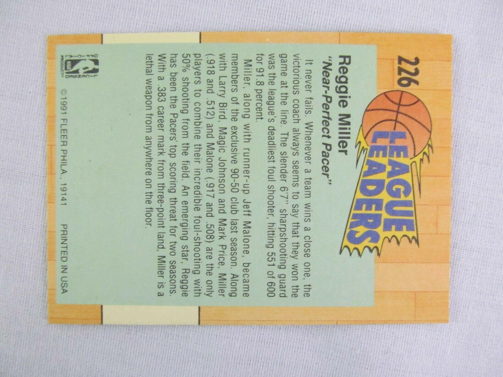 Reggie Miller Indiana Pacers 1991 Fleer Basketball Card 226