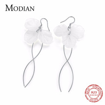 MODIAN Hot Sale Genuine 925 Sterling Silver Fashion Earrings Elegant Whi... - $29.73
