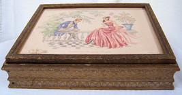 Vintage Wooden Dresser Box Glove Jewelry Box with Mirror Victorian Scene... - $19.99
