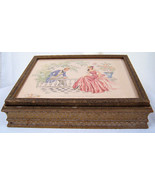 Vintage Wooden Dresser Box Glove Jewelry Box with Mirror Victorian Scene... - $19.99