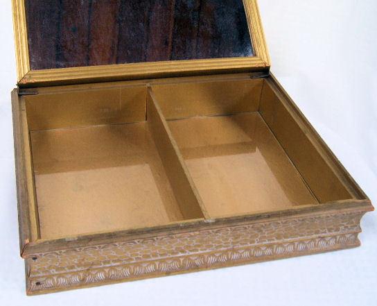 Vintage Wooden Dresser Box Glove Jewelry Box with Mirror Victorian Scene Top